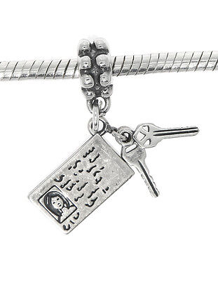 STERLING SILVER DRIVER'S License With Dangling Keys Charm Pendant