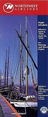 Airline Timetable - Northwest - 04/04/99 - Oslo Norway Sailboat cover