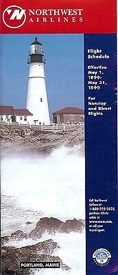 Airline Timetable - Northwest - 01/05/99 - Portland Maine Lighthouse cover