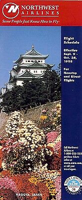 Airline Timetable - Northwest - 09/09/98 - Nagoya Japan Temple cover