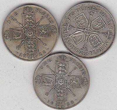 1922/1923 & 1931 George V Florins In Good Fine Condition