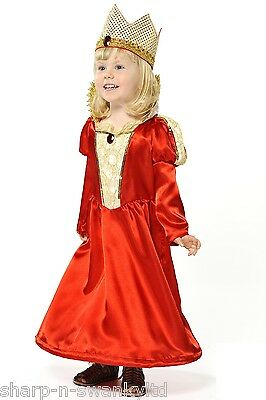 Childs Girls Red Hooped Hem Royal Queen Princess Fancy Dress Costume Outfit