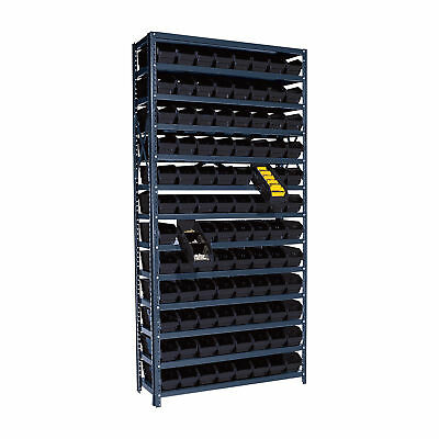 Quantum Storage 96 Bin Shelf Unit - 12in x 36in x 75in Rack Size, Black