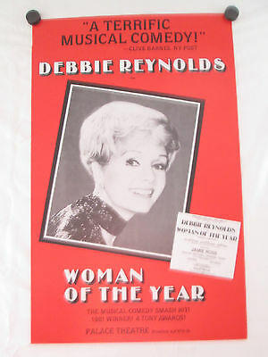 """Woman Of The Year Original Broadway Theatre Poster-Debbie Reynolds 22"""" X 14"""""""