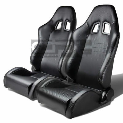Reclinable Pvc Leather Carbon Fiber Style Racing Sports Seats+Adjustable Slider