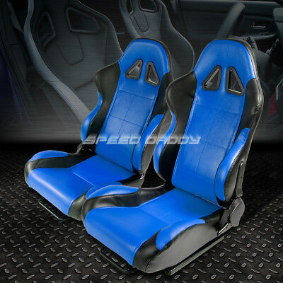 Pair Of Reclinable Pvc Leather Blue Black Trim Bucket Racing Seats+Sliders/rails