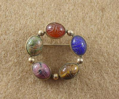 HG 1/20 12K Gold Filled Carved Scarab Stone Pin Brooch Tigers Eye Blue Pink