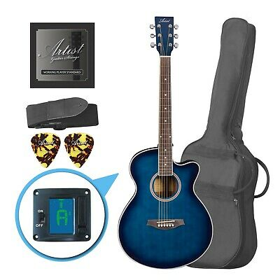 Artist LSPSTBB Beginner Acoustic Guitar Pack with Small Body - Blue - New