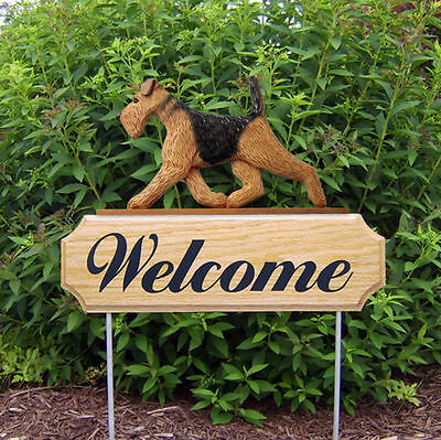 Airedale Dog Breed Oak Wood Welcome Outdoor Yard Sign