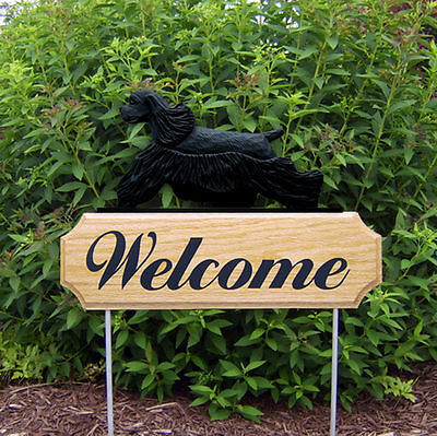 American Cocker Spaniel Dog Breed Oak Wood Welcome Outdoor Yard Sign Black