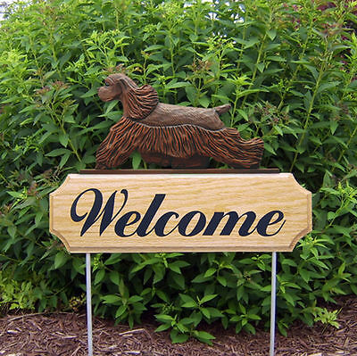 American Cocker Spaniel Dog Breed Oak Wood Welcome Outdoor Yard Sign Brown
