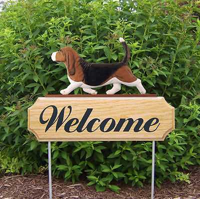 Basset Hound Dog Breed Oak Wood Welcome Outdoor Yard Sign Tri