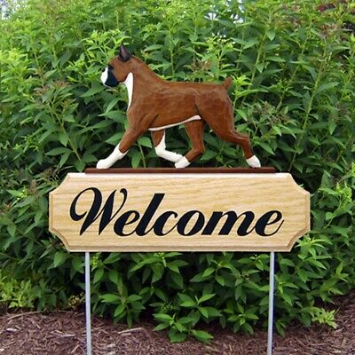 Boxer Dog Breed Oak Wood Welcome Outdoor Yard Sign Fawn