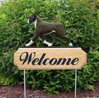 Boxer Uncropped Dog Breed Oak Wood Welcome Outdoor Yard Sign Brindle