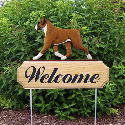 Boxer Uncropped Dog Breed Oak Wood Welcome Outdoor Yard Sign Fawn