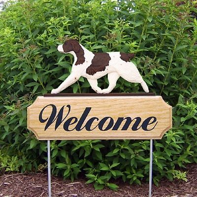 Brittany Spaniel Dog Breed Oak Wood Welcome Outdoor Yard Sign Liver