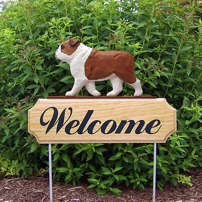 English Bulldog Dog Breed Oak Wood Welcome Outdoor Yard Sign Red