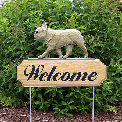 French Bulldog Wood Welcome Outdoor Sign Fawn