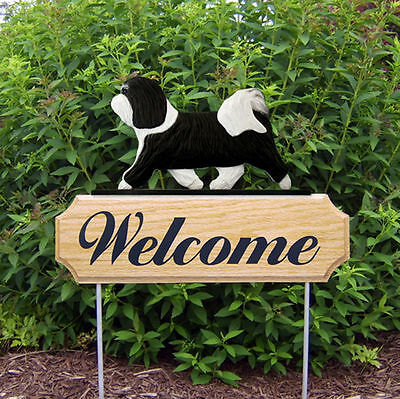 Havanese Wood Welcome Outdoor Sign Black/White