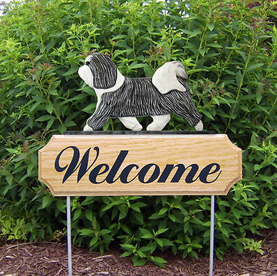 Havanese Dog Breed Oak Wood Welcome Outdoor Yard Sign Grey/White