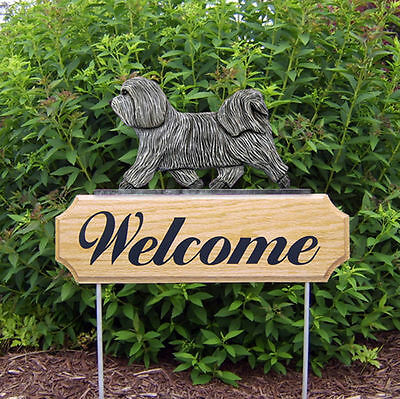 Havanese Dog Breed Oak Wood Welcome Outdoor Yard Sign Light Grey