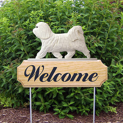 Havanese Wood Welcome Outdoor Sign White
