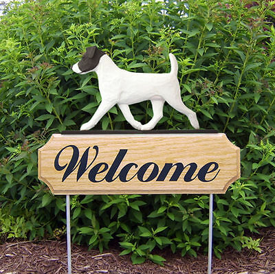 Jack Russell Terrier Dog Breed Oak Wood Welcome Outdoor Yard Sign Black/White