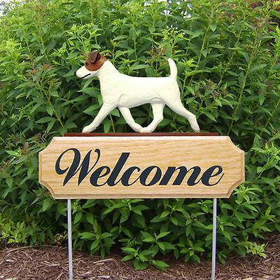 Jack Russell Terrier Dog Breed Oak Wood Welcome Outdoor Yard Sign Brown/White