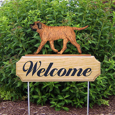 Mastiff Dog Breed Oak Wood Welcome Outdoor Yard Sign Apricot Brindle