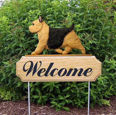 Norwich Terrier Wood Welcome Outdoor Sign Black & Tan