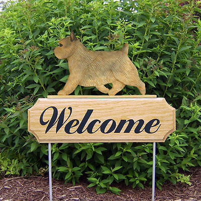 Norwich Terrier Dog Breed Oak Wood Welcome Outdoor Yard Sign Grizzle