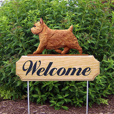 Norwich Terrier Dog Breed Oak Wood Welcome Outdoor Yard Sign Red