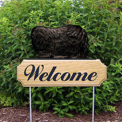 Pekingese Dog Breed Oak Wood Welcome Outdoor Yard Sign Black
