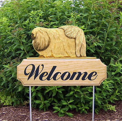 Pekingese Dog Breed Oak Wood Welcome Outdoor Yard Sign Fawn
