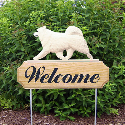 Samoyed Dog Breed Oak Wood Welcome Outdoor Yard Sign