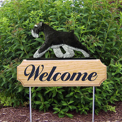 Schnauzer Uncropped Dog Breed Oak Wood Welcome Outdoor Yard Sign Black/Silver