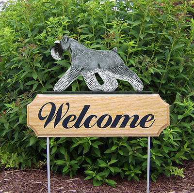 Schnauzer Uncropped Dog Breed Oak Wood Welcome Outdoor Yard Sign Salt/Pepper
