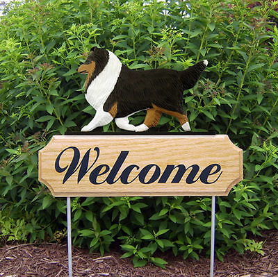 Sheltie Dog Breed Oak Wood Welcome Outdoor Yard Sign Tri