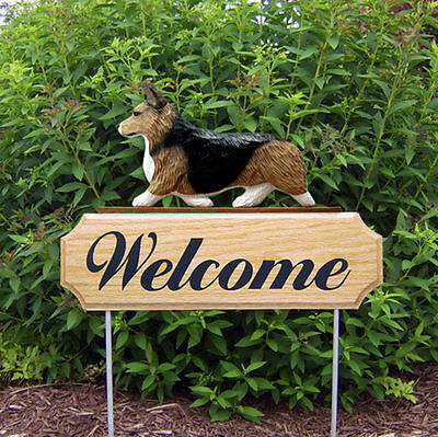 Welsh Corgi Pembroke Dog Breed Oak Wood Welcome Outdoor Yard Sign Sable