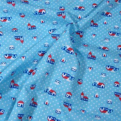 Cute Dressmaking Apparel Fabric Per Yard, Tiny Houses & Churches on Blue
