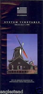 Airline Timetable - US Airways - 01/06/98 - Holland Windmill cover