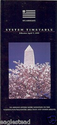 Airline Timetable - US Airways - 07/04/99 - Washington Monument cover