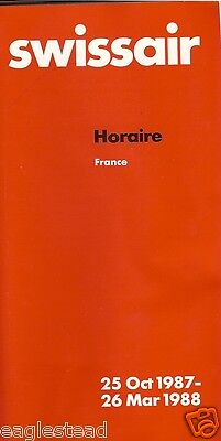 Airline Timetable - Swissair - 25/10/87 - France Edition