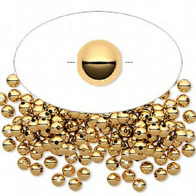 7361MB Bead, Metal, Spacer, Gold plated Brass, Smooth Round, 3mm, 100 Qty