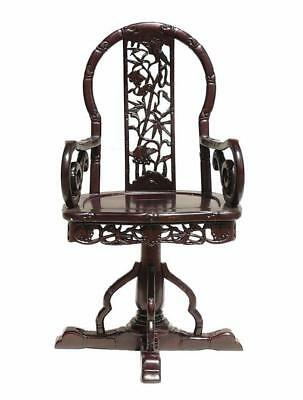 Chinese Traditional Redwood Carved Swivel Armchair, Office Chair ss525