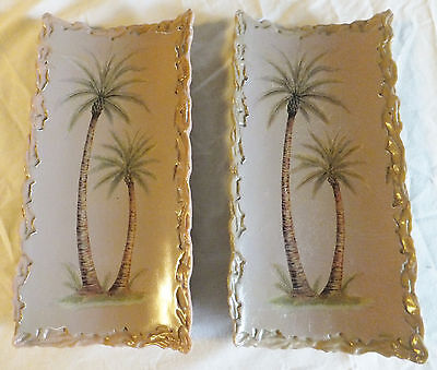 2 Vintage Heavy Pictures of Palm Trees
