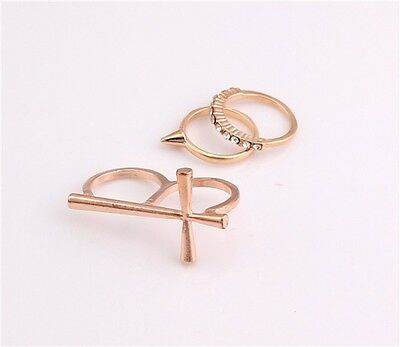 New Fashion Nice Gold Plated Clear 3 pieces Love Cross Rivet Rhinestone Rings