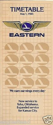 Airline Timetable - Eastern - 01/05/85