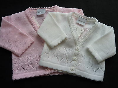 BABY/GIRLS KNITTED CARDIGAN- PINK OR WHITE-V-NECK..NEWBORN...0-3m...3-6m...6-12m
