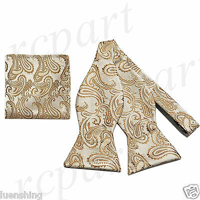 New Brand Q Men's micro fiber formal Self-tied Bow tie & Hankie Caramel paisley